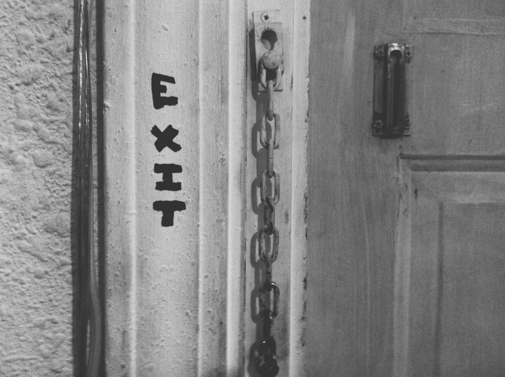 Exit tag on Gallery back door