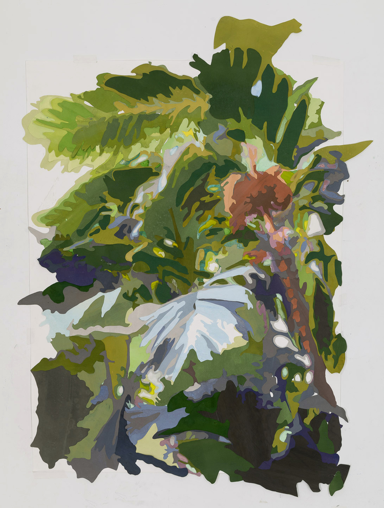 """Scene from a Cultivated Jungle (view I)"", by Naomi Reis, mixed media on washi paper and mylar, 63 5/16 x 47 7/16 inches; Photograph by Etienne Frossard."